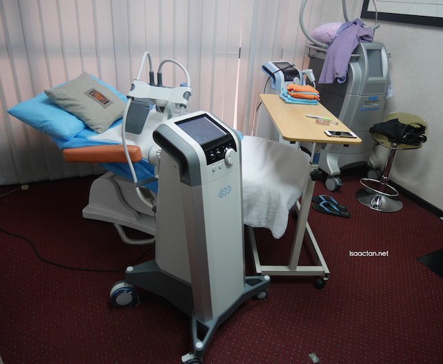 The treatment room, with BTL Vanquish Machine