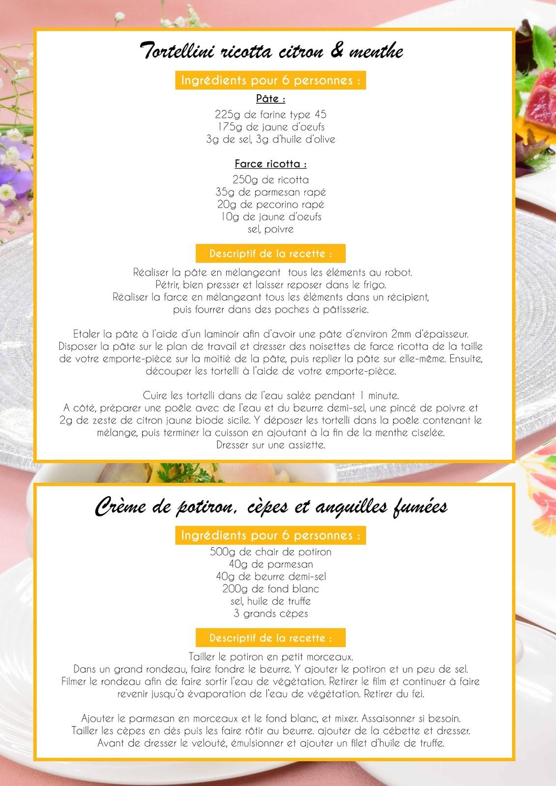 recette tortellini et potiron atelier Cuisine a&d