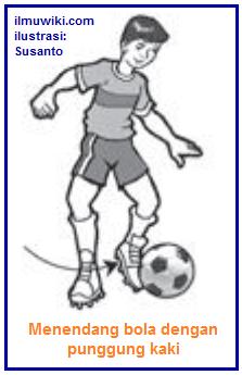 Gambar menendang bola dengan kura-kura kaki - punggung kaki