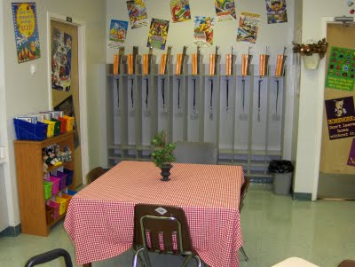 You NEED to set up a small group instruction area during your classroom design process. Think about elementary anchor charts, displays, bulletin boards, storage, activities, and a kidney or a teacher table. The Clutter Free Classroom has lots of fun and easy tips and ideas! #classroomsetup #classroomdesign