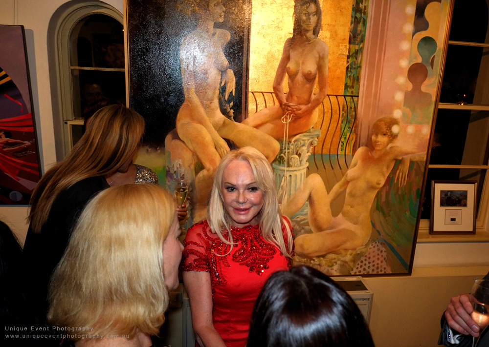 Christa Billich with friends and art at The Billich Gallery 30th Anniversary 'Erotica' Party - Photographed by Kent Johnson for Unique Event Photography.
