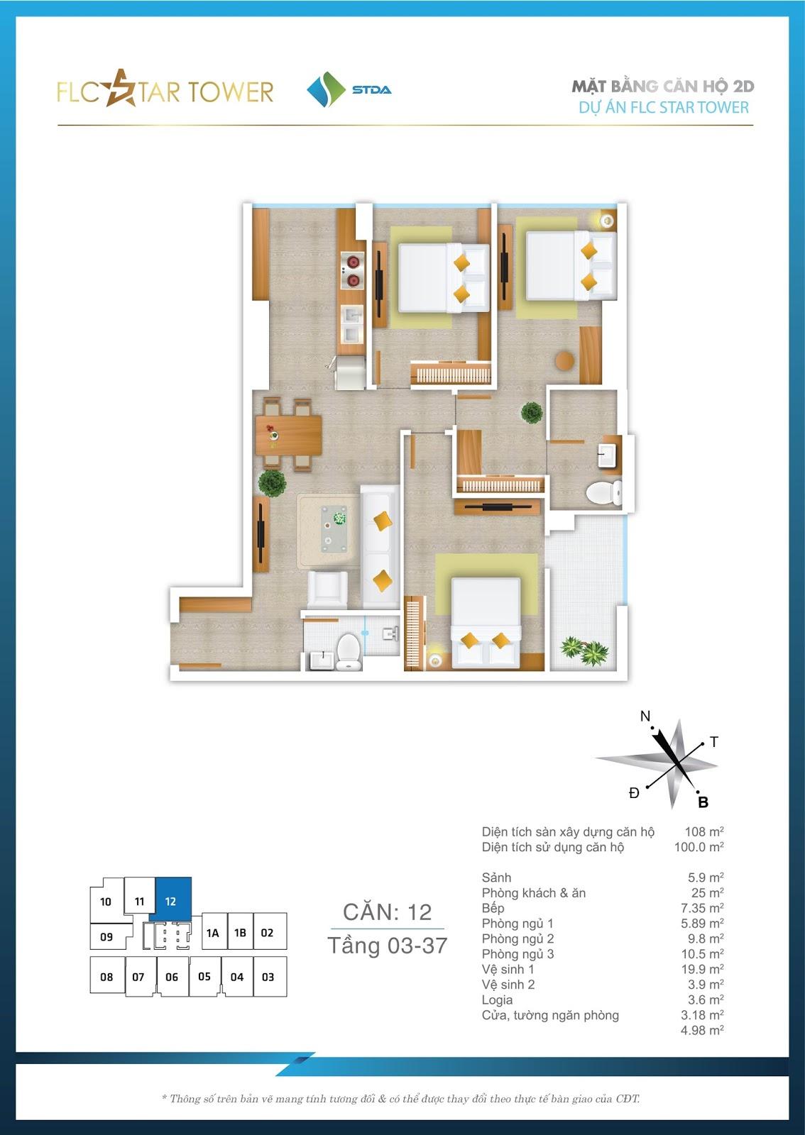 Thiết kế căn hộ 12 - Chung cư FLC Star Tower Hà Đông