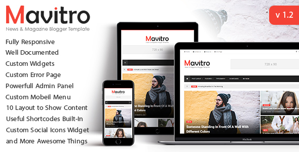 Template Mavitro - News & Magazine Blogger Template Blogging