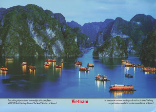 vietnam, postcard, cruising ships, sea