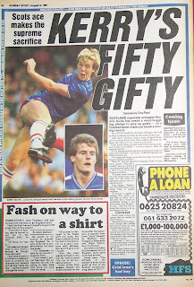 Vintage Sunday Sport newspaper back page from 9th August 1987