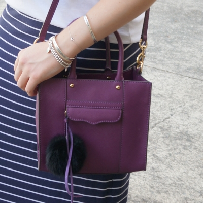 Rebecca Minkoff mini MAB tote in plum faux fur bag charm | AwayFromTheBlue