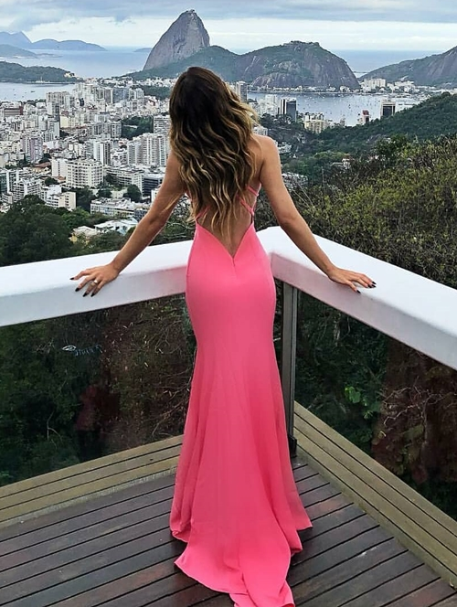 vestido longo rosa pink costa nua