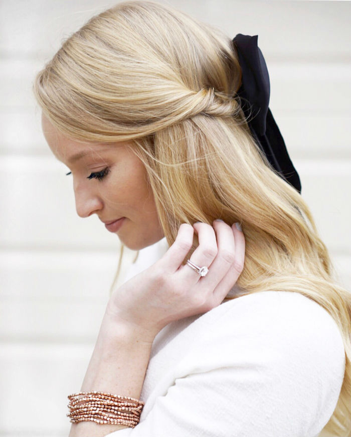 long hair styles, hair bow styles, how to wear a bow in your hair