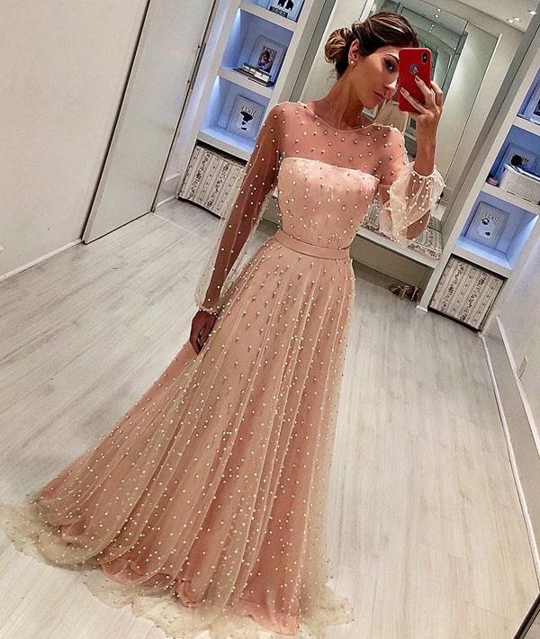 vestido de festa longo rose com manga longa