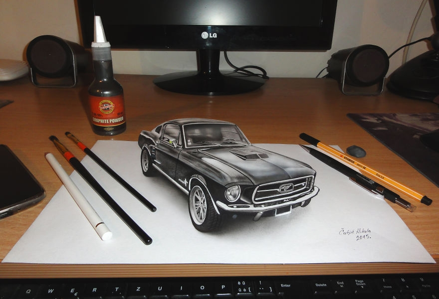 12-Black-Mustang-Nikola-Čuljić-2D-Anamorphic-Drawings-that-Look-3D-www-designstack-co