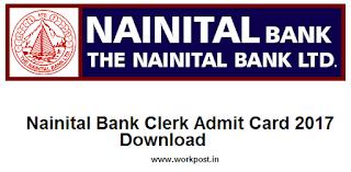 Nainital Bank Clerk Admit Card 2017