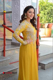 Actress Mehrene Kaur Stills in Yellow Long Dress at Sundeep Kishan New Movie Opening .COM 0075.JPG