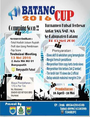 Event: Batang | 14-15 Mei 2016 | Batang Cup 2016 | Turnamen Futsal Terbesar Antar SMA/AMK/MA Se- Kabupaten Batang