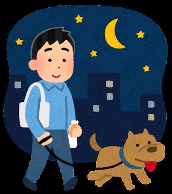 夜の犬の散歩のイラスト(男性)
