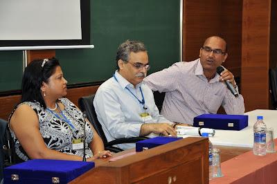 Mr. Sanjay Singh, Under Secy, Accessible India speaks with Ms. Anjlee Agarwal, Samarthyam & Mr. Dipendra Manocha, Saksham Trust on the dias