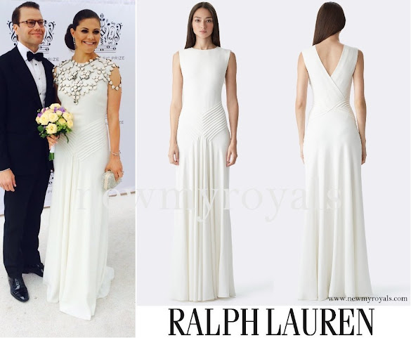 Princess Stephanie wore Ralph Lauren Dora V-Back Gown