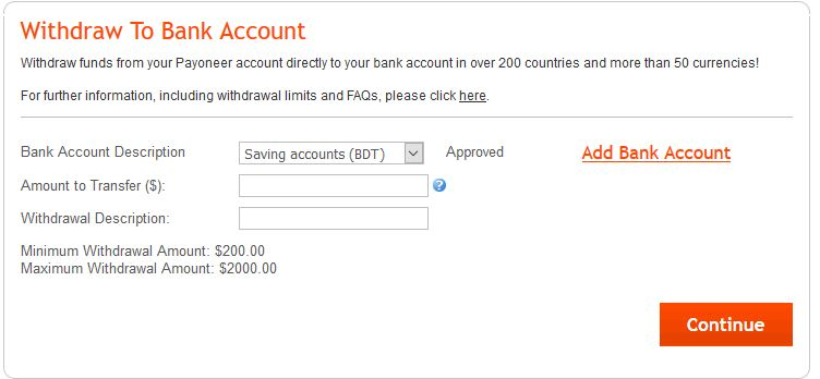 withdrawal to local bank account