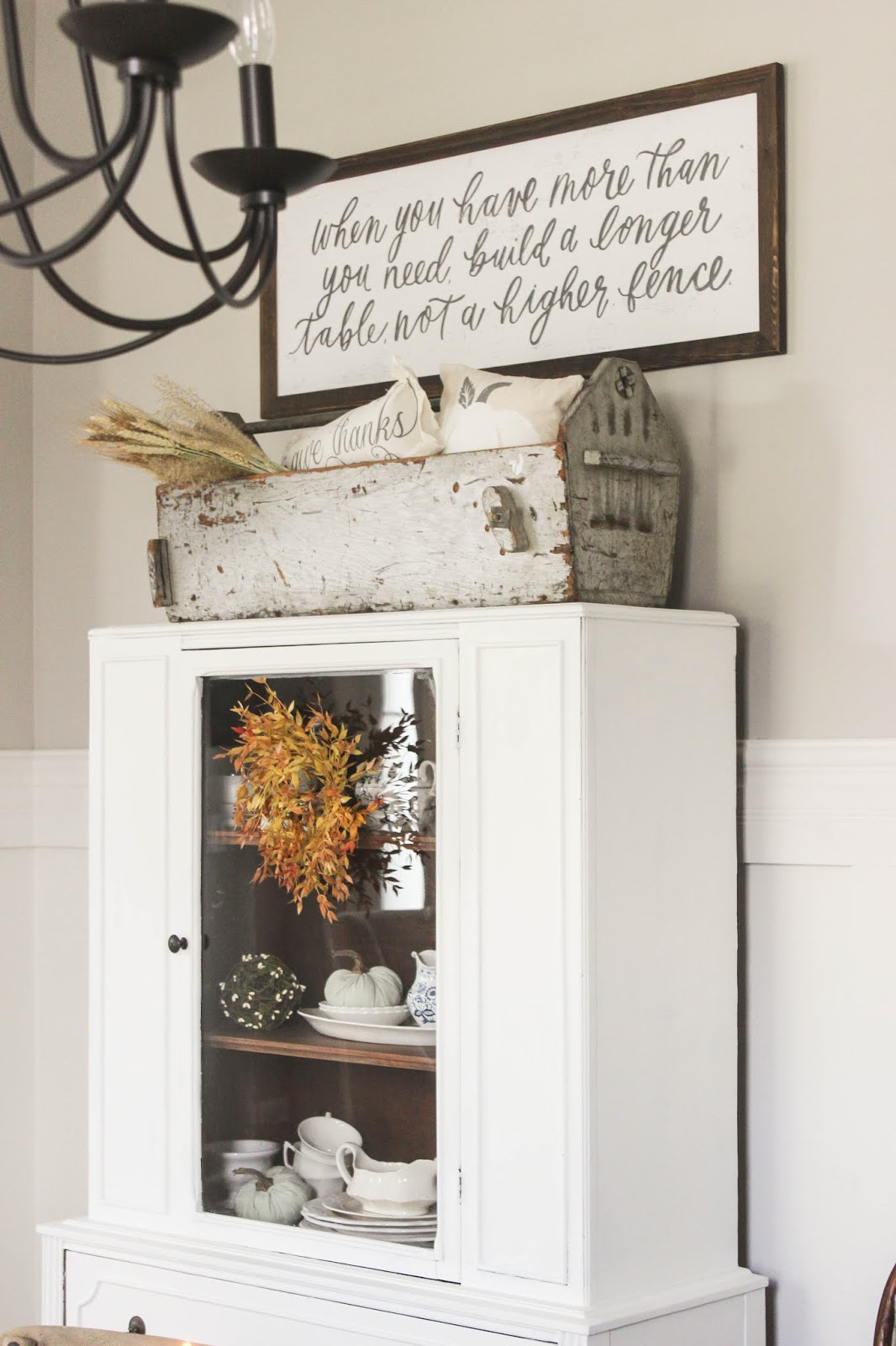 fall hutch decor ideas