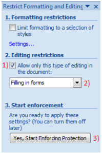Restrict Formatting dan Editing