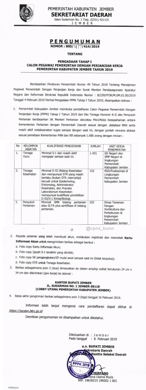 Rekrutmen P3K Kabupaten Jember Tahun 2019