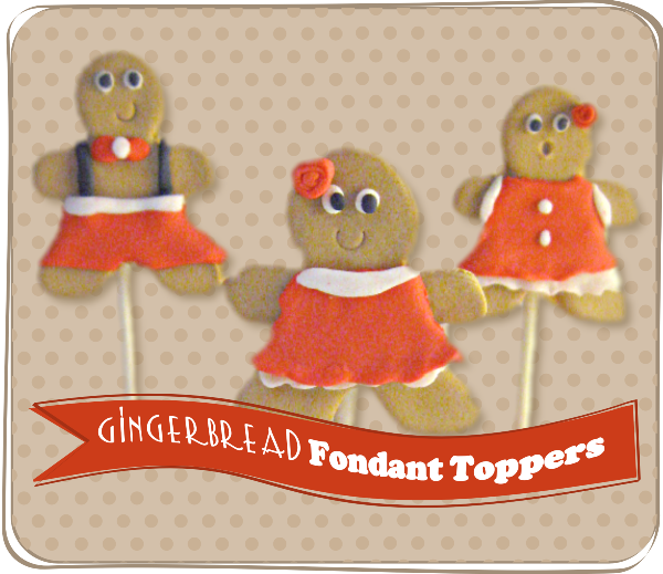 DIY Fondant Gingerbread People Cupcake Toppers - via BirdsParty.com