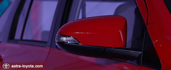 Untuk Toyota Calya tipe G mempunyai elektrik spion lipat elektrik dengan lampu sein