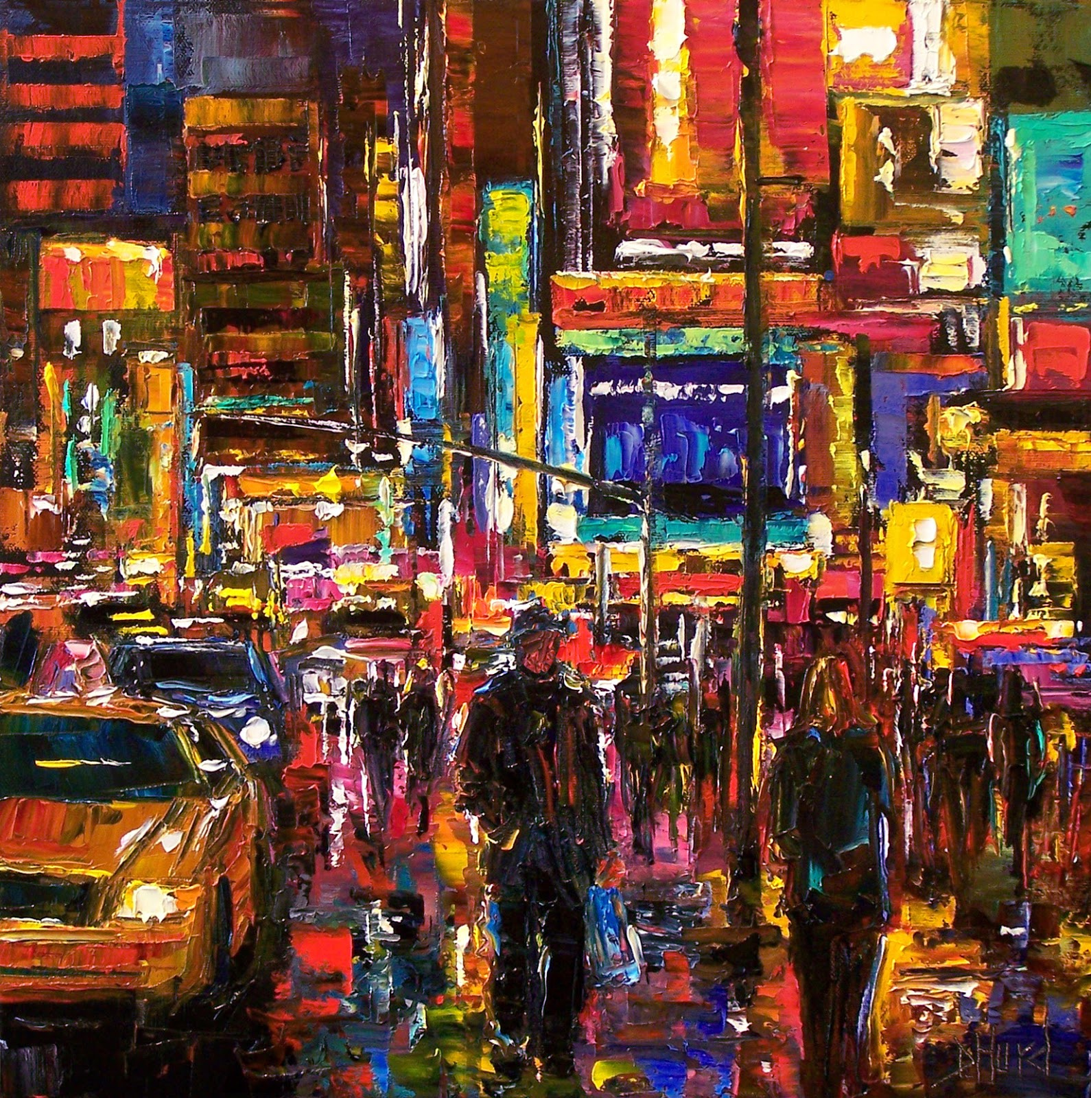 debra hurd original paintings and jazz art  cityscape new york city times square abstract urban