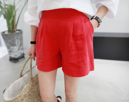 Linen Side Zip Shorts