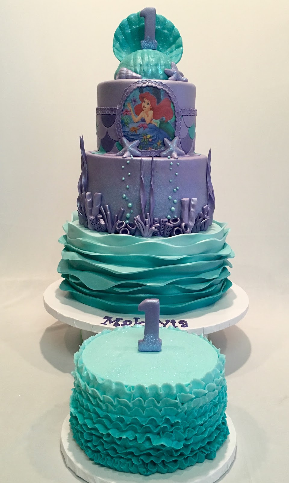 Under The Sea Little Mermaid Theme Cake With Ombré Waves And Seashell Topper