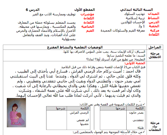 مذكرتي التاريخ والتربية الإسلامية(الإحسان للوالدين و الخط الزمني)للسنة الثالثة إبتدائي الجيل الثاني