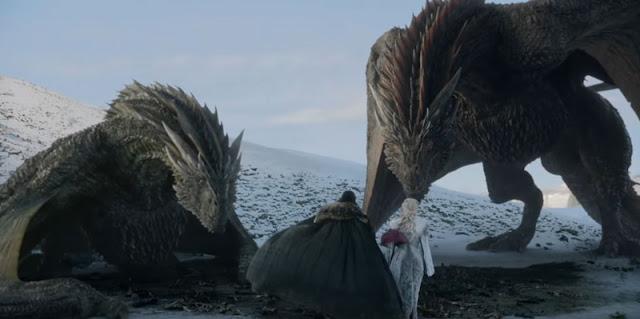 Jon y Daenerys y dragones trailer octava temporada