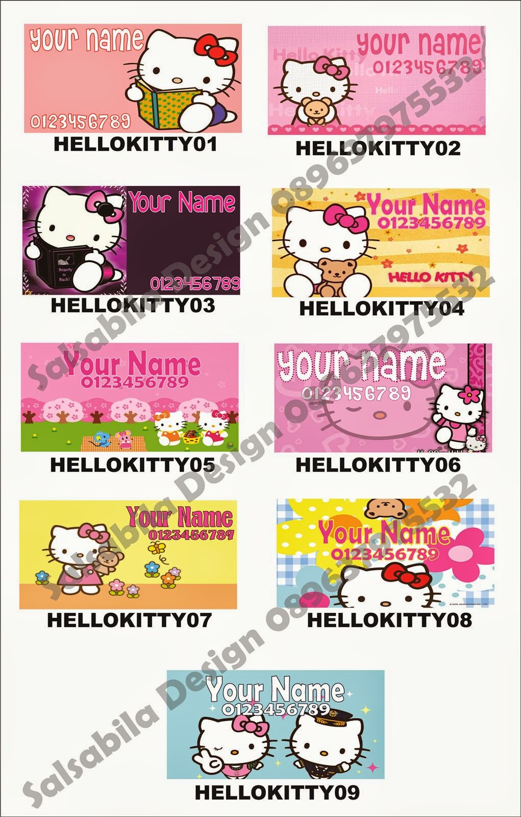 Sticker Stiker Label Nama Hello Kitty Jasa Desain
