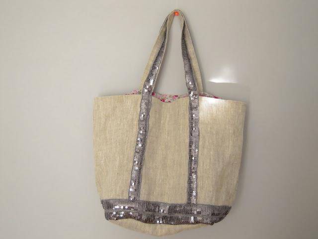 sac cabas lin et paillettes