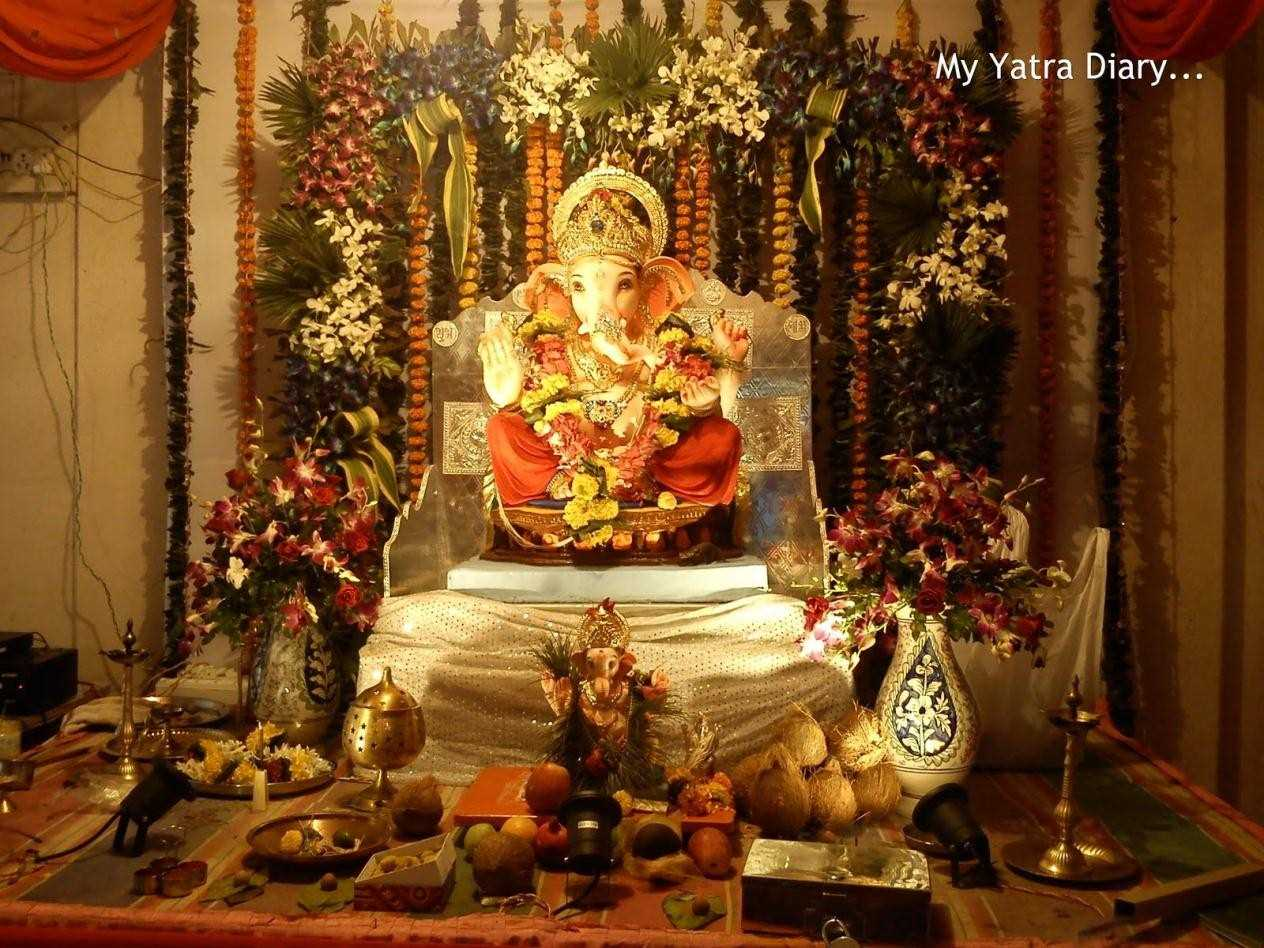 image of home decoration of ganesh festival ganesh chaturthi