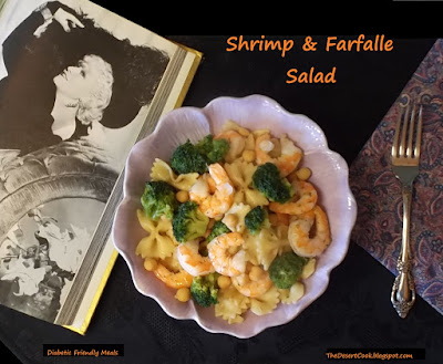 shrimp, farfalle, broccoli and garbanzo beans salad photo by candy dorsey