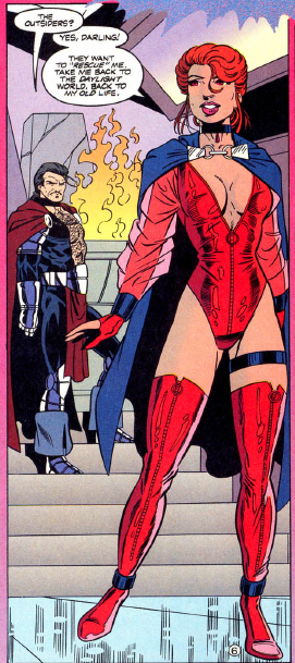 panel from Outsiders v2 #10 (1994). Property of DC comics.