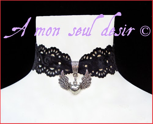 Collier romantique gothique victorien coeur amour ailes gothic goth romantic victorian winged heart wings choker My Lady Love