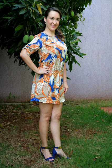 chemise estampada, chemise como usar, sandália azul vizzano, lojas renner, look do dia, du jour, blog camila andrade, blog de moda de ribeirão preto, lalilu modas