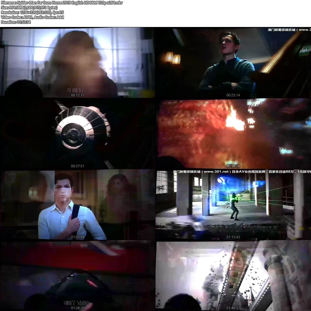Spider-Man Far from Home 2019 English HDCAM 720p x264   480p 300MB   100MB HEVC Screenshot