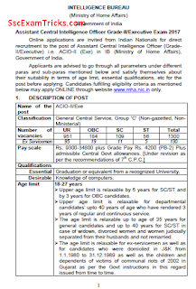 IB ACIO Grade II/ Executive Recruitment 2017-18