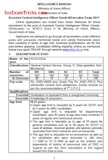 IB ACIO Grade II/ Executive Recruitment 2017-18