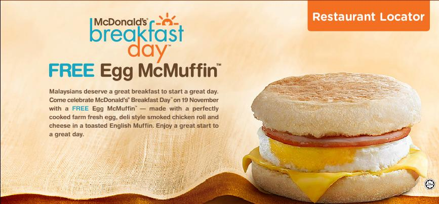 BestLah: McDonald's Breakfast Day - FREE Egg McMuffin (19 Nov)
