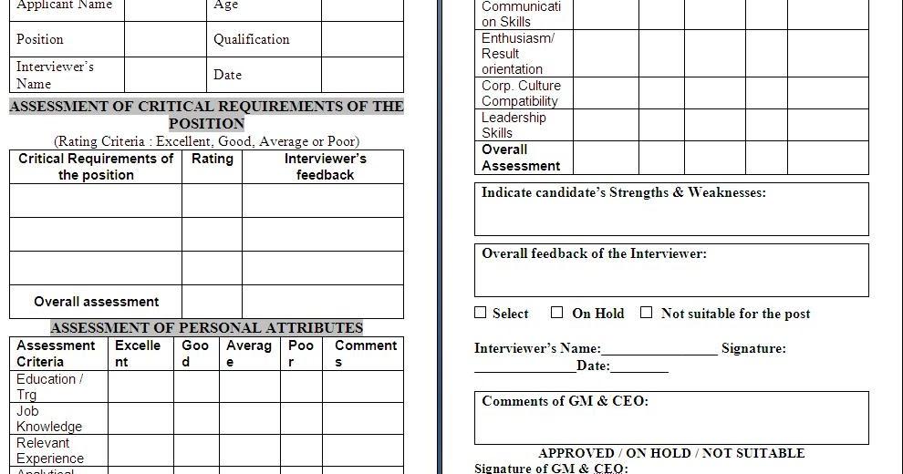 Free Assessment Forms  NodeCvresumePaasproviderCom