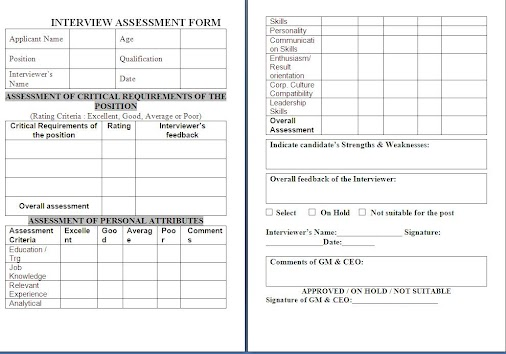 Interview Assessment Form Free Download Sample Template Example Of HR Job  In..