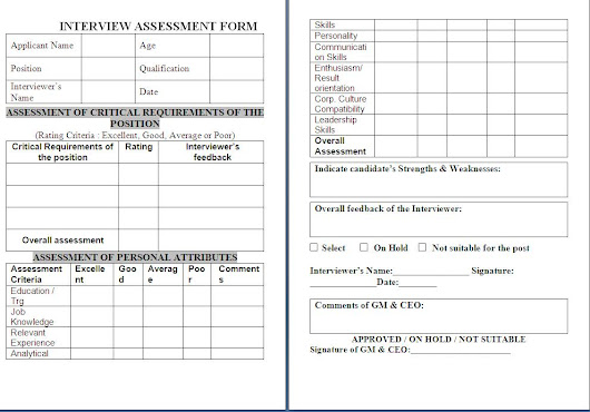 Interview Assessment Form Free Download Sample Template Example of - Sample Interview Evaluation Comments