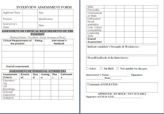 Interview Assessment Sheet Sample