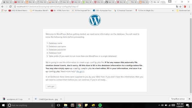 klik lets go untuk melanjutkan instalasi wordpress