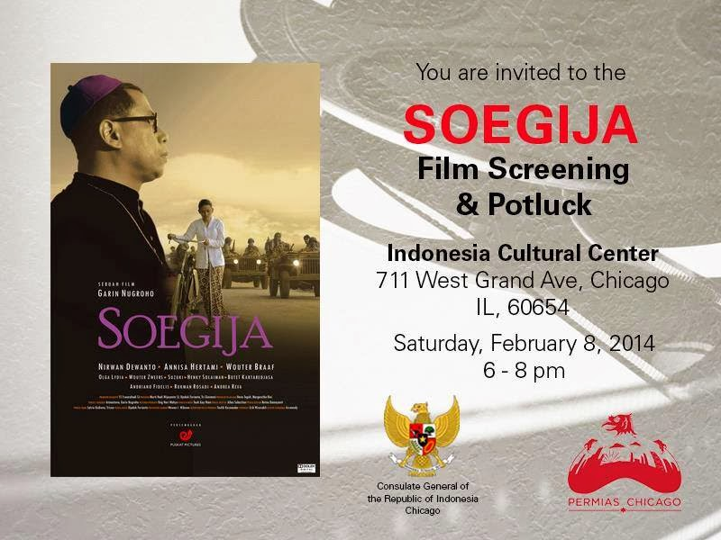 permias chicago and kjri chicago present movie screening soegija and free pizza indonesia