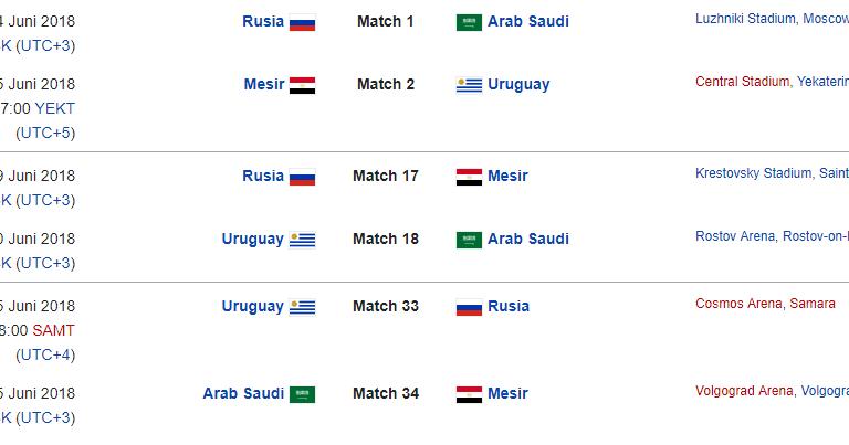 Jadwal Resmi Piala Dunia 2018 ~ Bandar Piala Dunia 2018