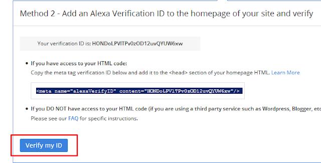Cara Verifikasi atau Claim Blog di Alexa.com